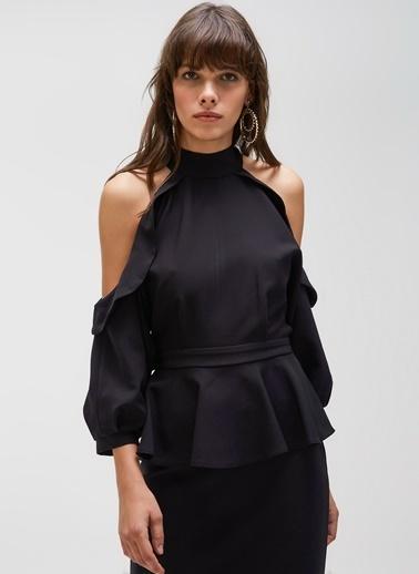 People By Fabrika Kol Detaylı Volanlı Kalem Elbise Siyah